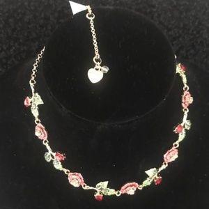 BETSEY JOHNSON Red Rose Rhinestone Necklace